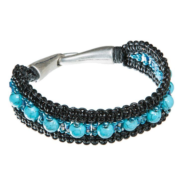 Black leather bracelet with turkish blue sea sediment jasper stone beads