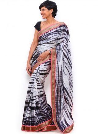 Mandira Bedi Black White Sibori Print Border Work Georgette Sarees…