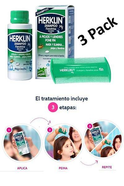 Medicated Hair Treatments: 3 Pack Herklin Shampoo Mata Piojos/Liendres Kills Lice And Eggs Fast Action 4Oz BUY IT NOW ONLY: $53.99