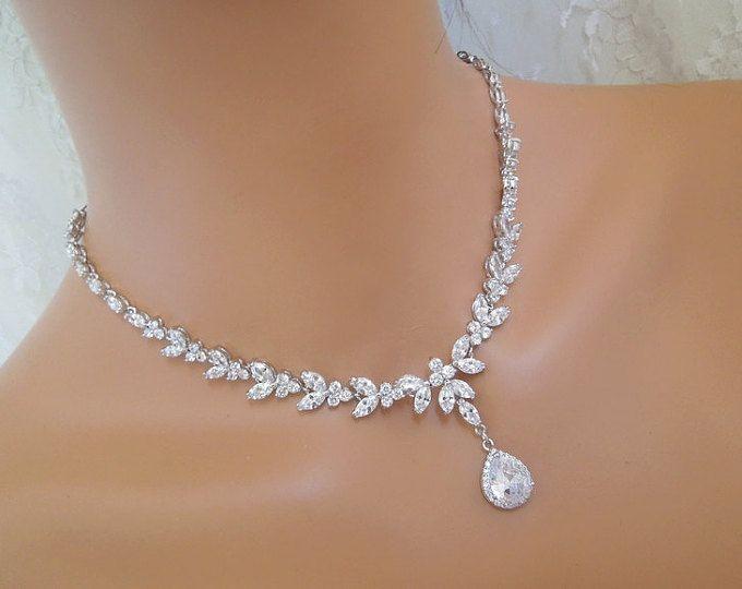 Teardrop Bridal necklace Wedding necklace Cubic zirconia