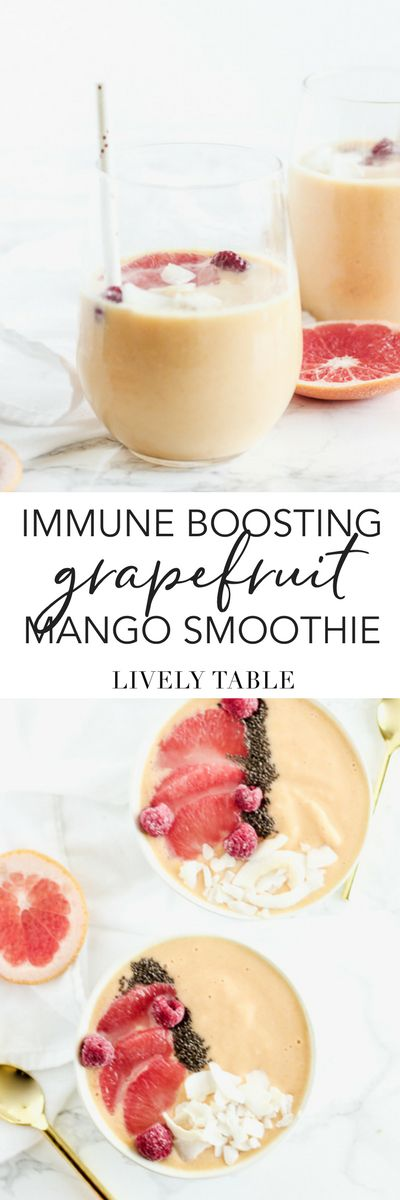 Give your immune system a little boost this winter with this nutrient-packed immune boosting grapefruit mango smoothie with turmeric. Great for a quick breakfast or snack! (#glutenfree, #vegetarian, #vegan option)
