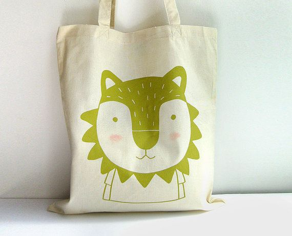 Screen printed Tote bag Lion illustration