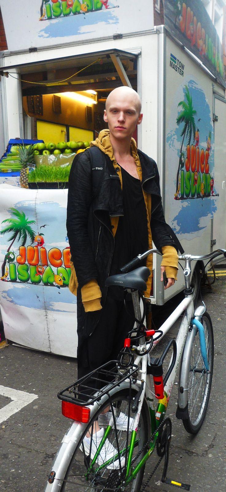 #layers #orange #black #bike #menswear #london #covent