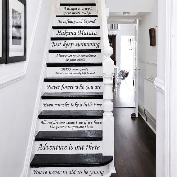 Escalier Stickers Disney devis escalier Stickers citation 14 étapes vinyle autocollants lettrage Family Home Decor escalier Disney autocollant ZX233