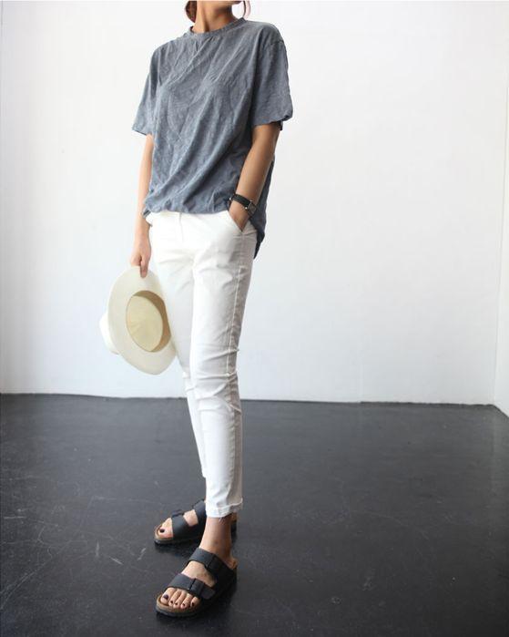 grey tee, white jeans  birkenstocks #basics #style #fashion
