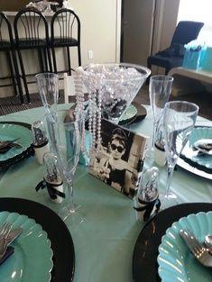 Breakfast at Tiffany's Bridal shower little black dress water bottles