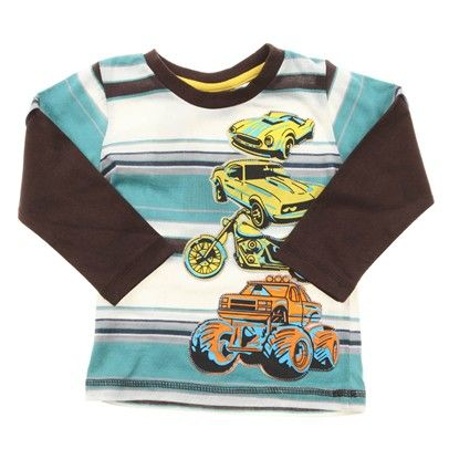 Brown/Aqua/White Stripe With Brown Sleeves And Car/Truck Embroidery-AJ63055-Brown-Aqua-White $15.00 on Ozsale.com.au