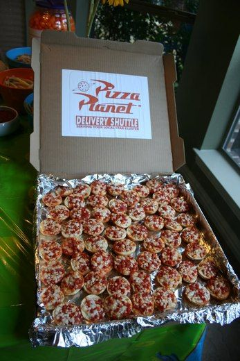 pizza planet mini pizza display with bagel bites or actual pizza. I'm thinkin' just re-do the boxes and voila we're having pizza planet pizza!
