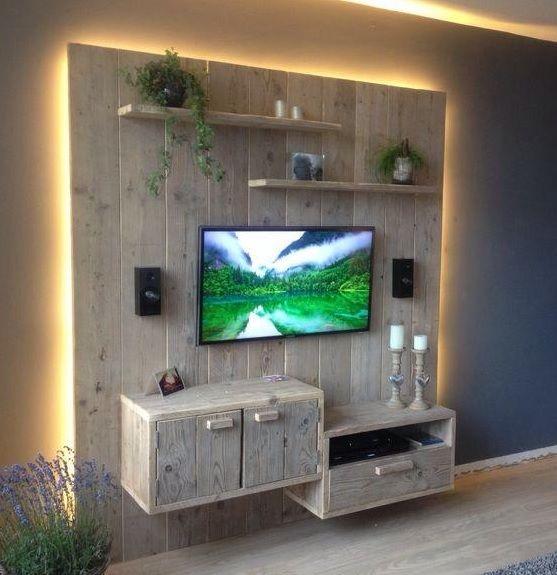 TV meubel van steigerhout (soort gelijke) verlichting leuk