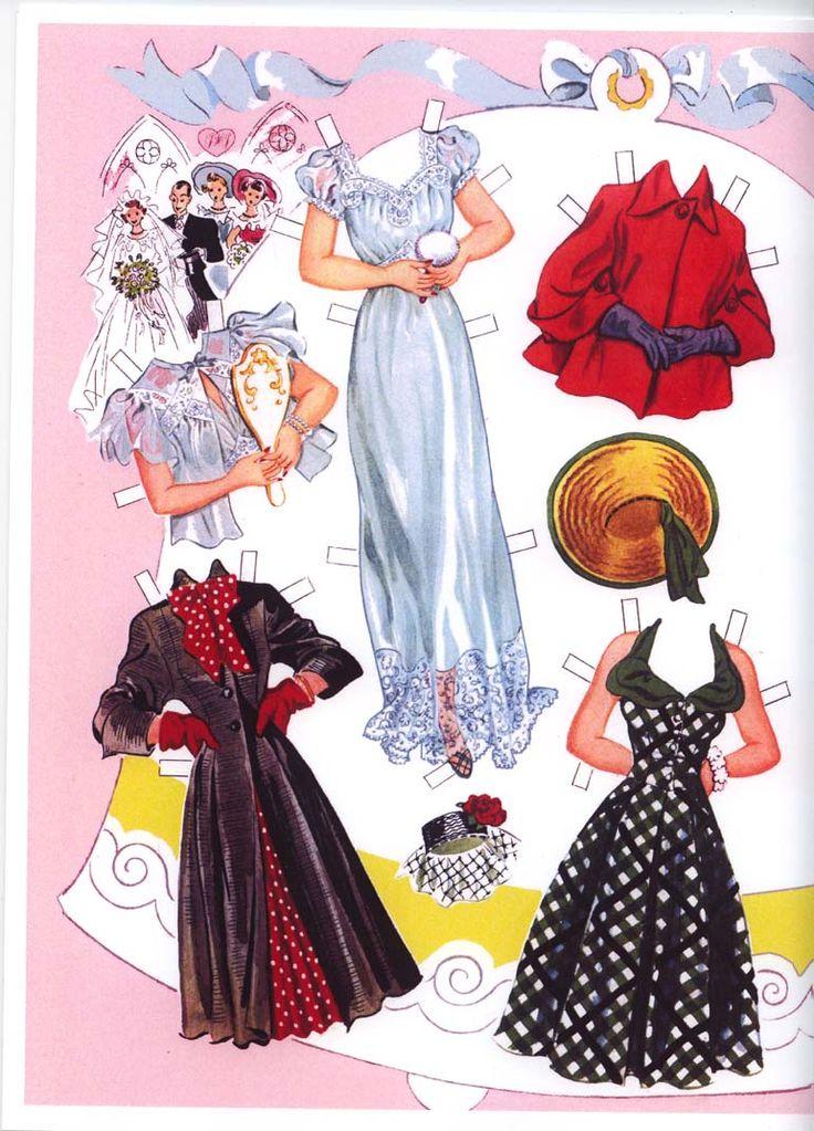 Paper Dolls:  Bridal Party clothes, 1950