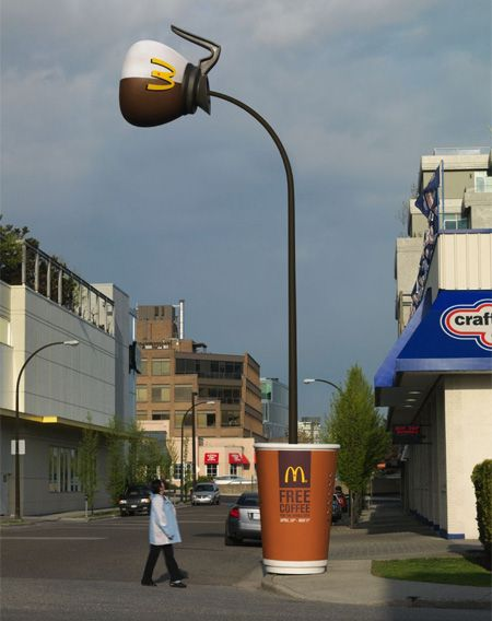 Mickey D's utilizes street light.Optical Illusions, Streetmarketing, Street Marketing, Cups Of Coffe, Ads Campaigns, Coffe Art, Guerrilla Marketing, Funny Commercials, Street Lights