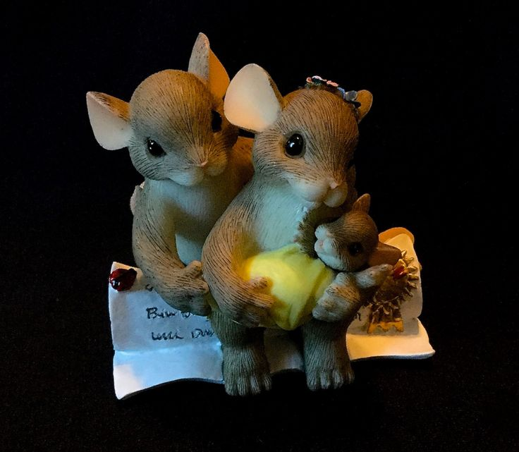 "Fitz & Floyd Charming Tails ""We Are A Family By Choice"" - Mom And Dad Mouse Holding Baby, Sitting On Adoption Papers by WuziesAttic on Etsy"