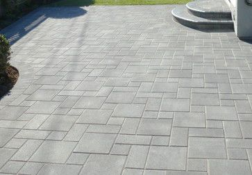 Interlocking Pavers traditional-landscape | Pacific Interlock pavers in grey/charcoal