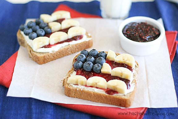red, white, & blue sandwiches
