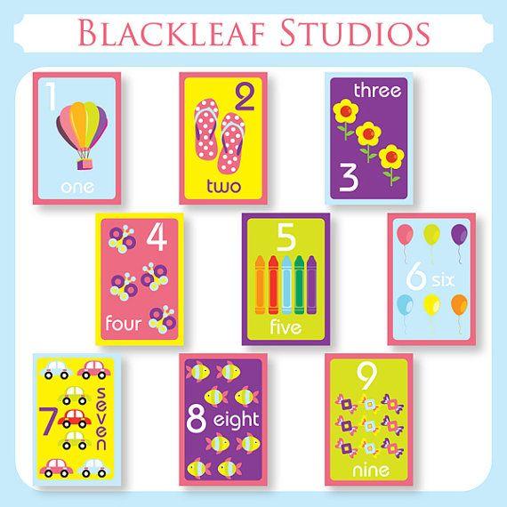 Numbers Flash Cards  DIY Printable for toddlers by blackleafdesign