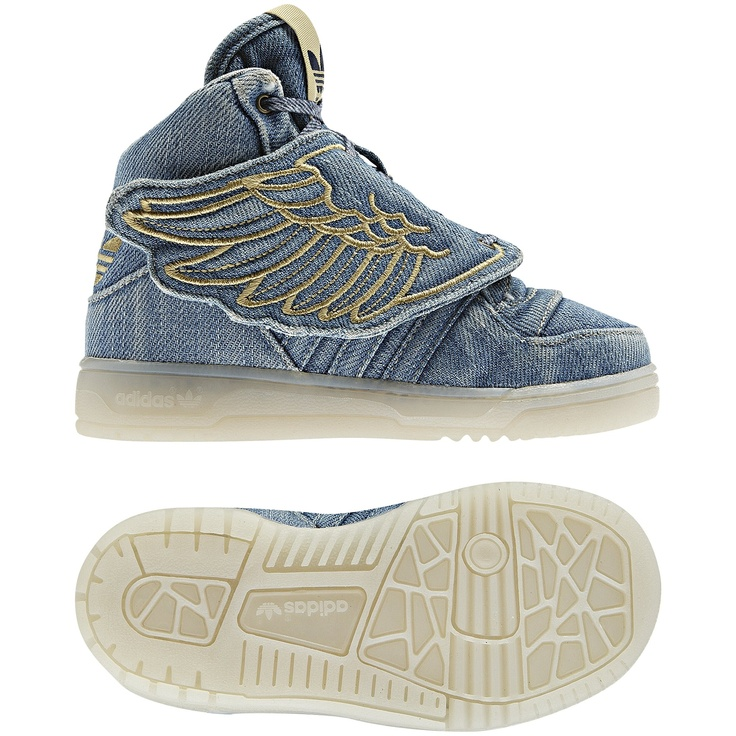 These adidas Originals Jeremy Scott Wings Denim shoes feature  blue-jeans-inspired stitching, a worn-in wash effect and translucent  outsoles.