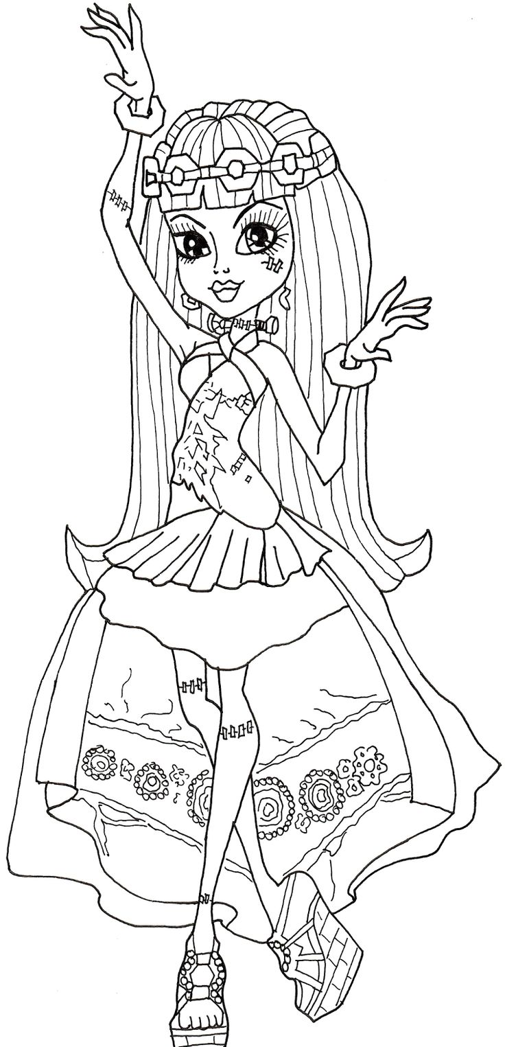 Monster High Frankie Stein Dancing Coloring Pages