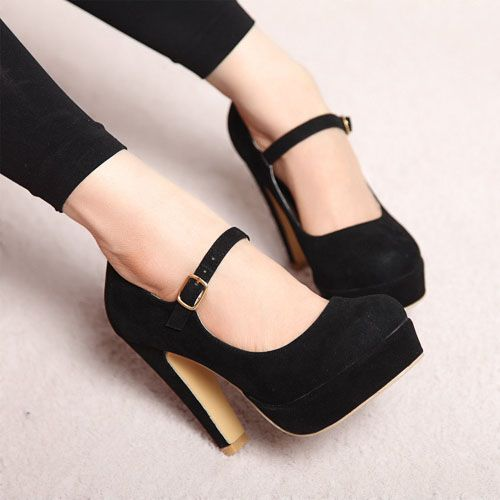 Gorgeous black heels, with a thick heel instead of a stiletto!