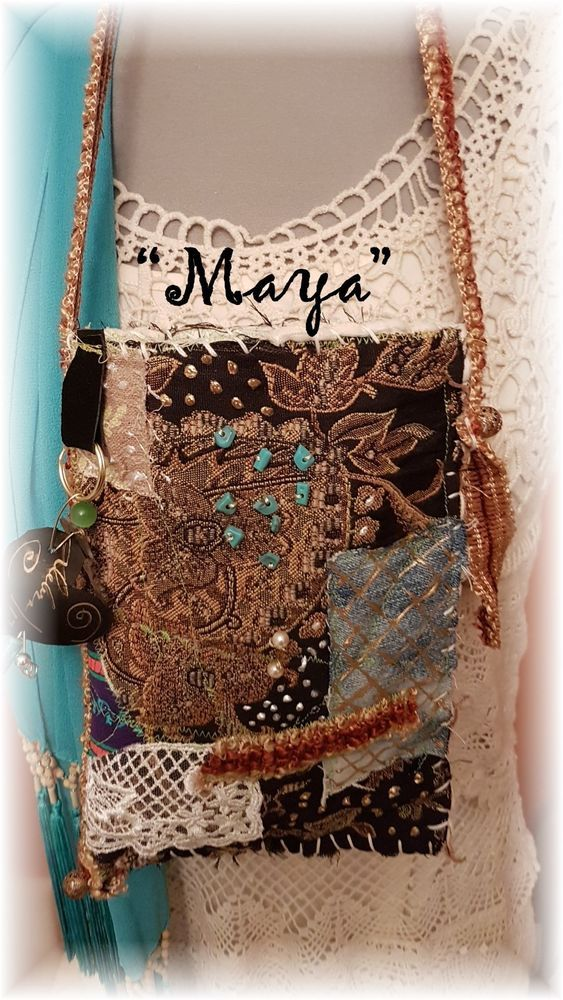 "Hand Made BoHo Bohemian Handbag Original Signed Numbered FAB*BOHO ""MAYA"" #007 #FABBOHO #POUCHCROSSBODY"