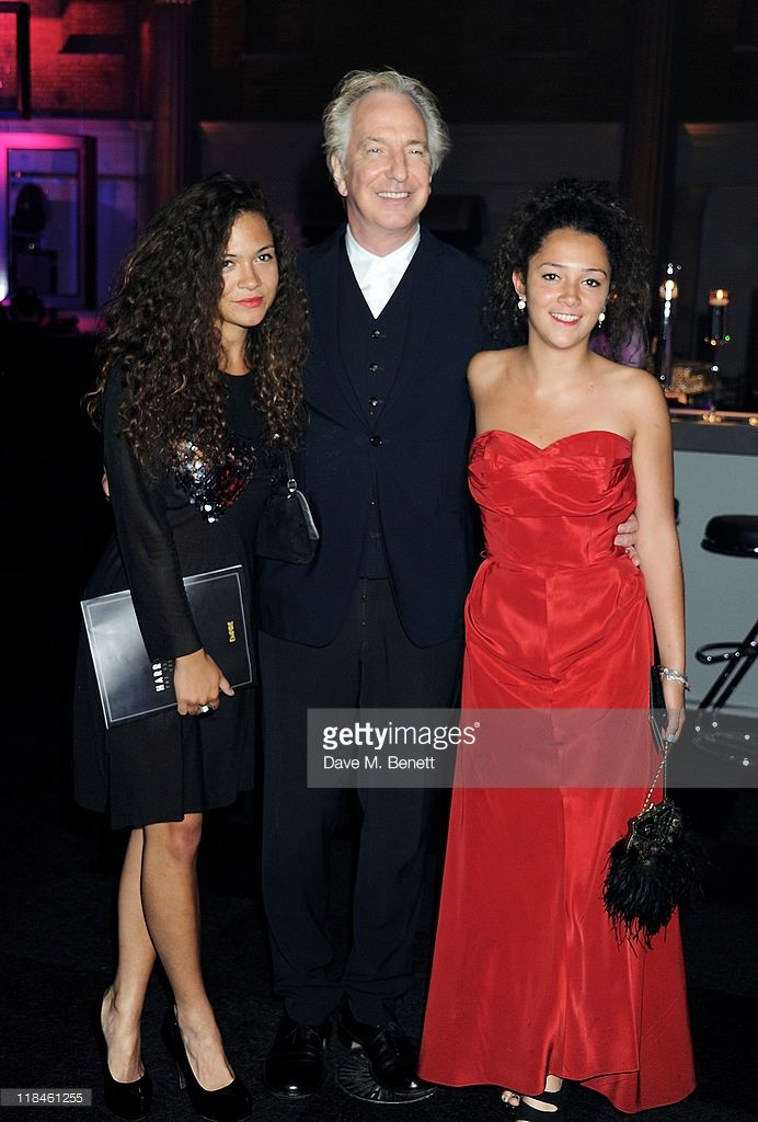 Alan Rickman with his nieces Amy Jane and Claire Rickman (Sheila Rickman's daughters)  The girls are Lily and Bellaray Bertrand-Webb, the daughters of his family friend, actor Danny Webb, not Amy and Claire Rickman.