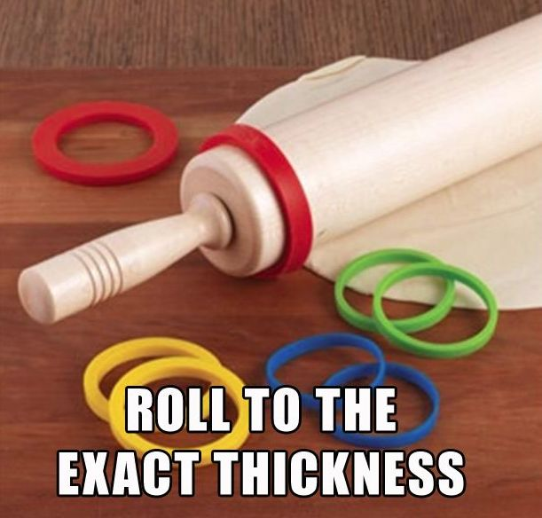 20 Kitchen gadgets you didn't know you needed: Silicone rolling pin rings Wonder if you could do this with rubber bands?
