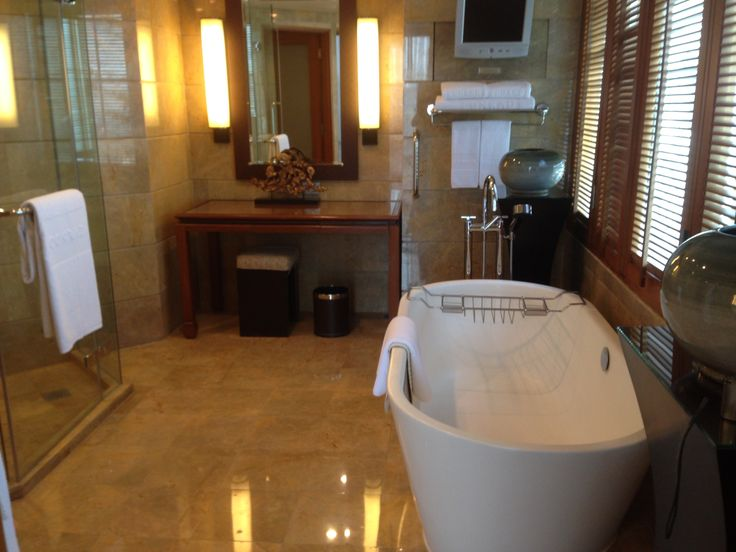 Bathroom in our suite at the Conrad Bangkok Hotel, Thailand