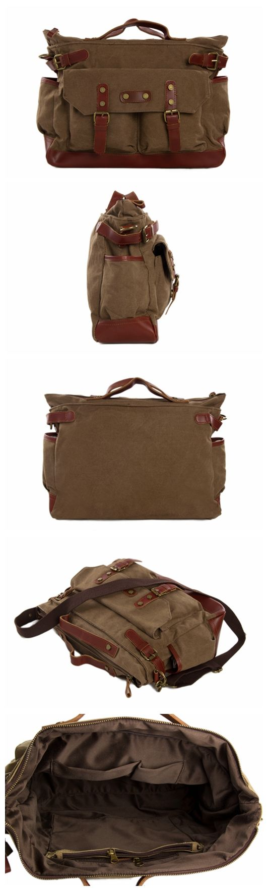 Canvas Leather Briefcase Messenger Bag, Waxed Canvas Laptop Bag Shoulder Bag