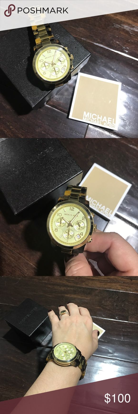 Michael Kors Tortoise Shell Watch Michael Kors tortoise shell and gold watch. Minor scratches and needs battery, both issues reflected in price. Michael Kors Accessories Watches