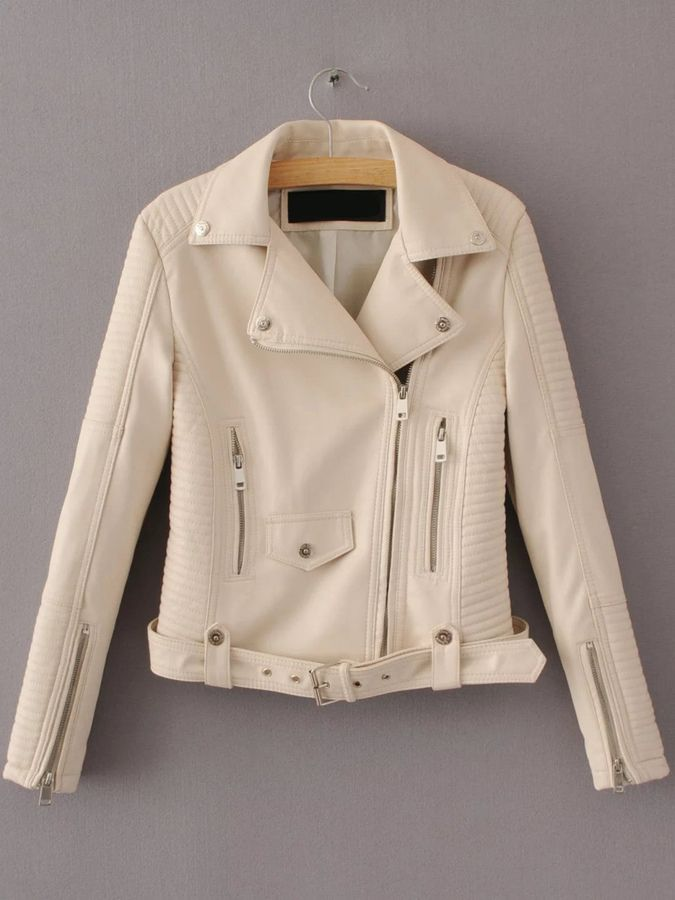 Shein Oblique Zipper Moto Jacket With Buckle