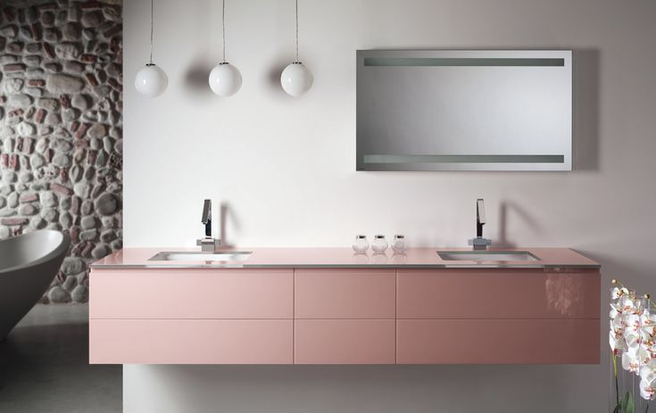 Artelinea's modern double sink bath vanity in cute pink / Monolite 2.0 Collection