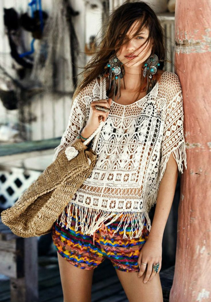 Unique floral lace crochet cover-up top. Just take this and enjoy your beach weekend! More collection at AZBRO.com.
