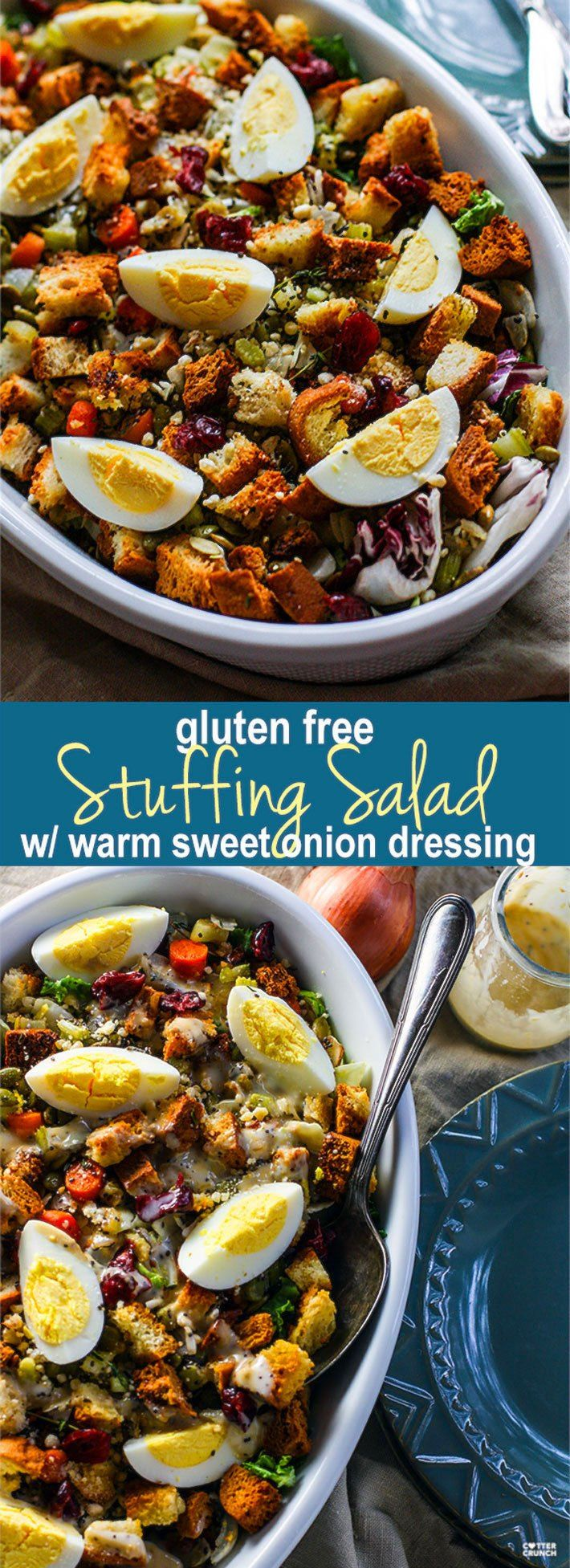 Gluten Free Stuffing Salad with Sweet Onion Dressing! A Gluten Free Stuffing recipe with a twist! This easy Holiday side dish combines the comfort food of traditional stuffing with a healthy winter salad! All tossed together in no time and served with a warm sweet onion dressing. LIght, Healthy, and full of flavor. Just like traditional stuffing! @cottercrunch