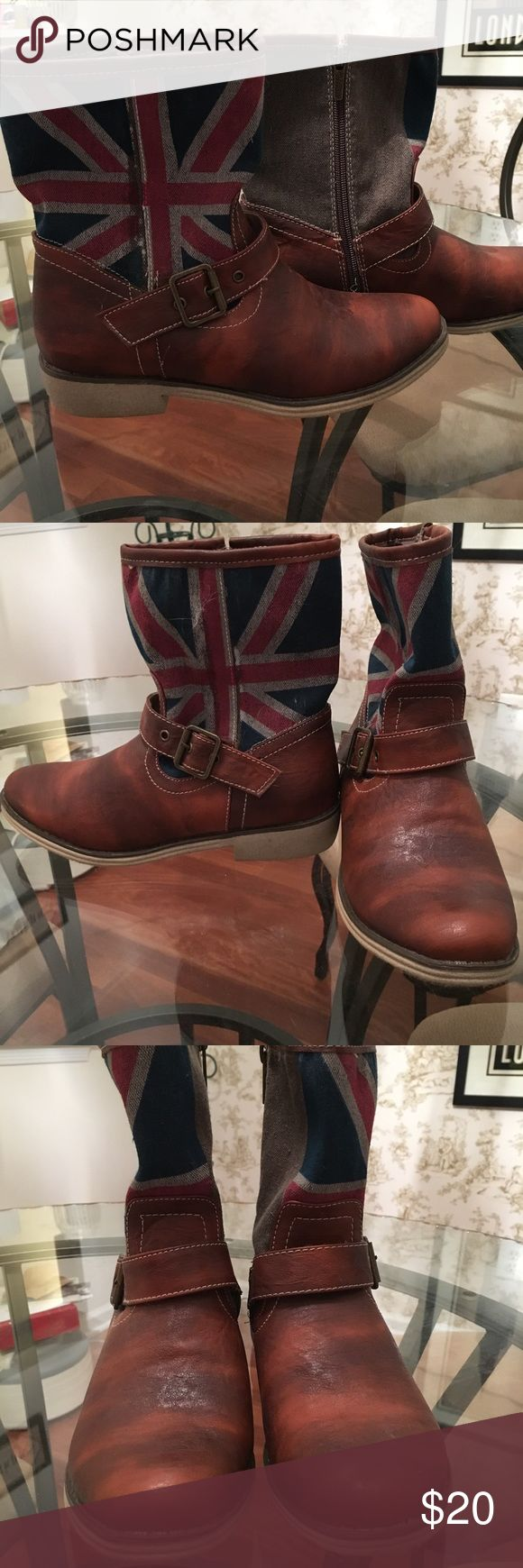 Union Jack Boots Flat boots with Union Jack design on outside. Flocked bottom on boot. Never worn; kept in closet outside shoe box. Size 9. Wanted Shoes