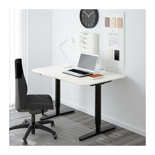 BEKANT Desk sit/stand - white/black - IKEA