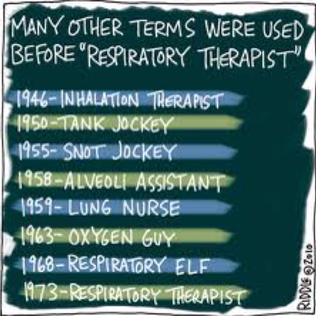 I get called respiratory technician or respiratory nurse. I don't respond to technician; I flat out ignore the speaker, but I can get downright combative at being called a nurse.