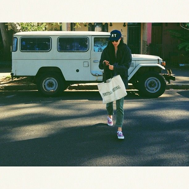 to market, to market #wiwt / #ebbetsfield hat / @Oscar Palmér Wylee glasses / #engineeredgarments wool coat / #uniqlo chinos / #vans x #liberty paisley shoes / #ptjheroes tote.
