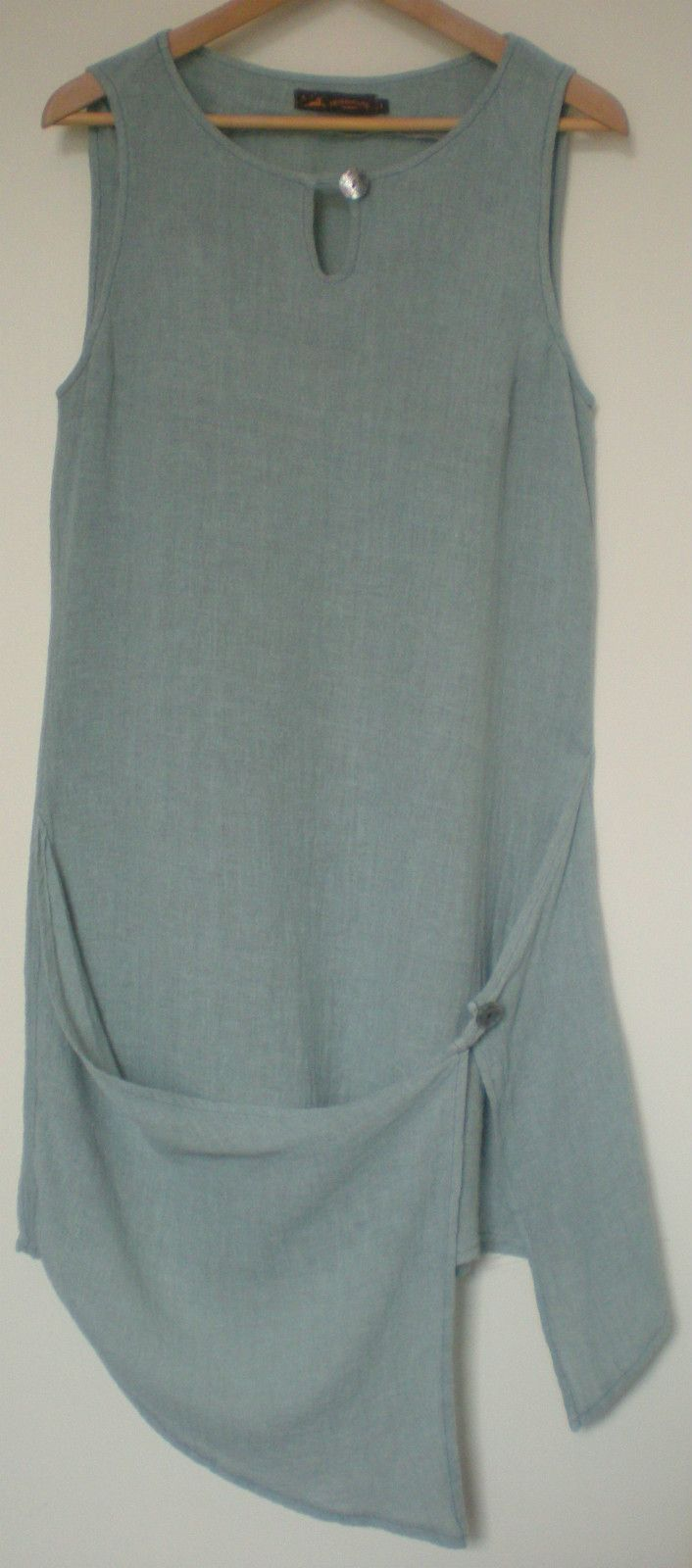 Heteroclite crinkle linen dress s1. M 12 ? apron front asymmetric lagenlook | eBay