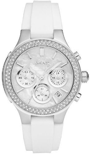 DKNY Mother of Pearl Dial Silver-tone White Rubber Strap Ladies Watch NY8196