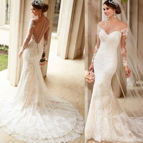 XW9 Vintage 2017 Long Sleeves Mermaid Wedding Dresses for Bride Lace Gowns