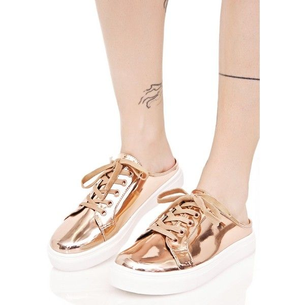 Gold Metallic Sneaker Mules ($23) ❤ liked on Polyvore featuring shoes, sneakers, metallic gold sneakers, platform mules, white shoes, slip on mules and white lace up sneakers