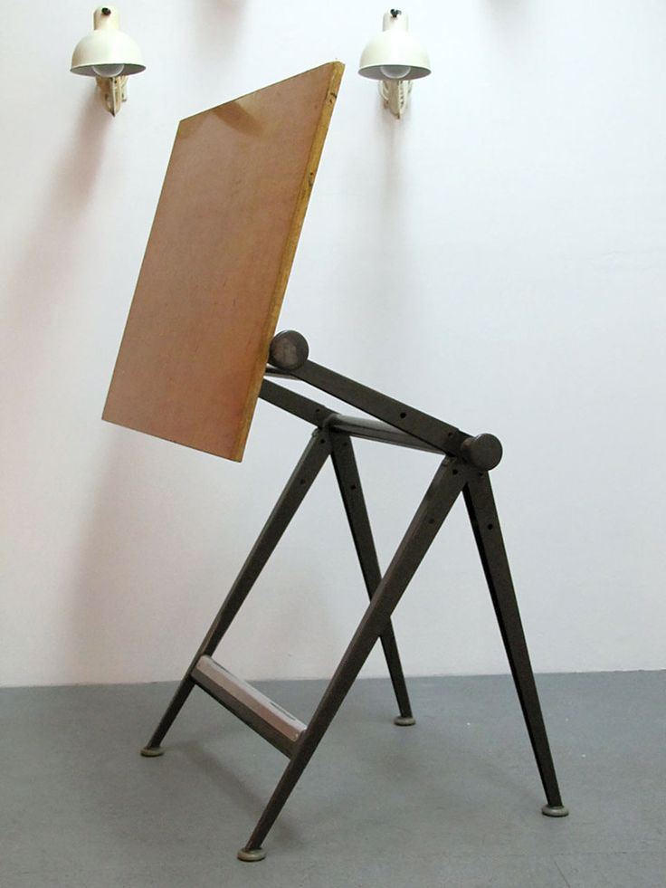 Wim Rietveld And Friso Kramer; Wood And Metal U0027Replyu0027 Drafting Table For De