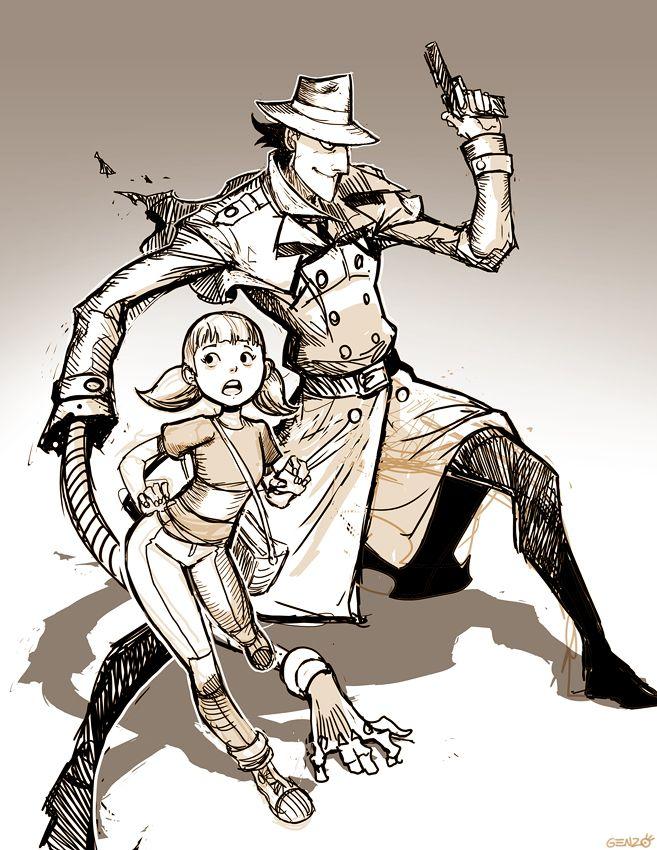 Inspector Gadget and Penny - Sketch by GENZOMAN.deviantart.com on @DeviantArt