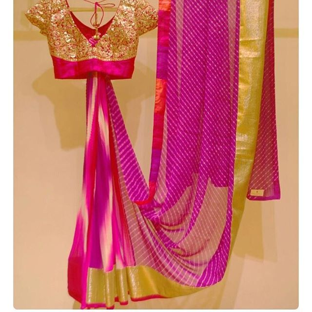 """Tie and dye saree with lehriya pallu and gold blouse To purchase mail us at houseof2@live.com or whatsapp us on +919833411702 for further detail #sari #saree #sarees #sareeday #sareelove #sequin #silver #traditional #ThePhotoDiary #traditionalwear #india #indian #instagood #indianwear #indooutfits #lacenet #fashion #fashion #fashionblogger #print #houseof2 #indianbride #indianwedding #indianfashion #bride #indianfashionblogger #indianstyle #indianfashion"" Photo taken by @house_of_2 on…"
