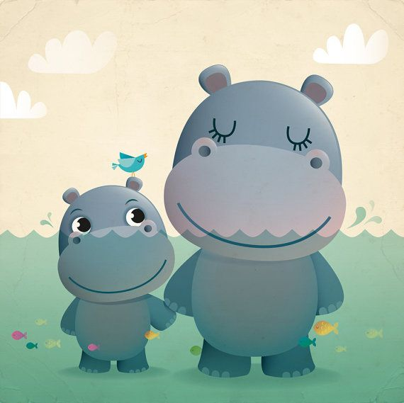 Mother and baby hippo art print nursery by IreneGoughPrints