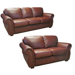 Brown Leather Set www.overstock.com/Home-Garden/Luxurious-Brown-Leather-Sofa-and-Loveseat/1945084/product.html?CID=214117 $2,385.99