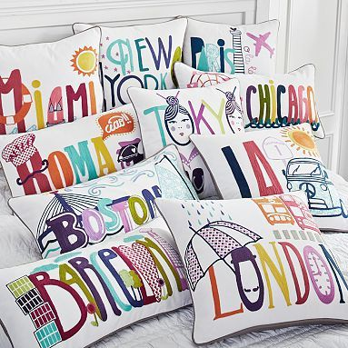 Destination Pillow Cover. Great for after studying abroad! ON SALE too and use your student discount!!  http://www.studentrate.com/itp/get-itp-student-deals/PBteen--Pottery-Barn--Student-Discounts--/0
