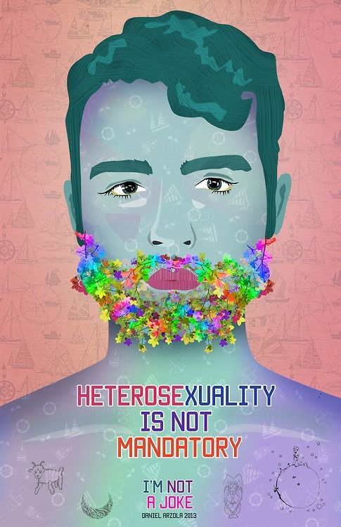 """Heterosexuality is not mandatory""  Created by artist Daniel Arzola (@Arzola_d), ""I'm Not a Joke"" (No Soy Tu Chiste) is a campaign spreading awareness for the LGBTI community through art and design. The campaign is a reaction to the recent violent acts against the LGBTI community in Venezuela.  [click on this image to find a short clip and analysis of heteronormativity in contemporary media]"