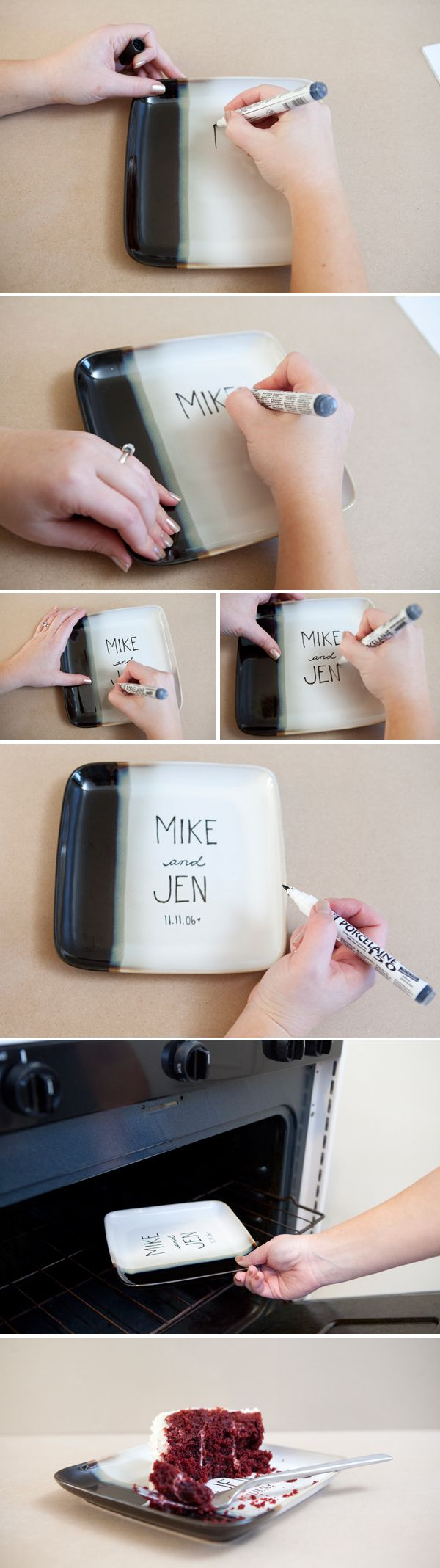 Neat Idea for a wedding or birthday.. have all the attendants sign and write a note then you will have something useful and remember the day for as long as you have the plate! TW