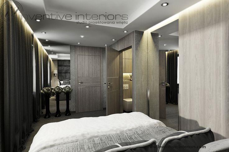 Projekt sypialni  Inventive Interiors - szarość i jasne drewno