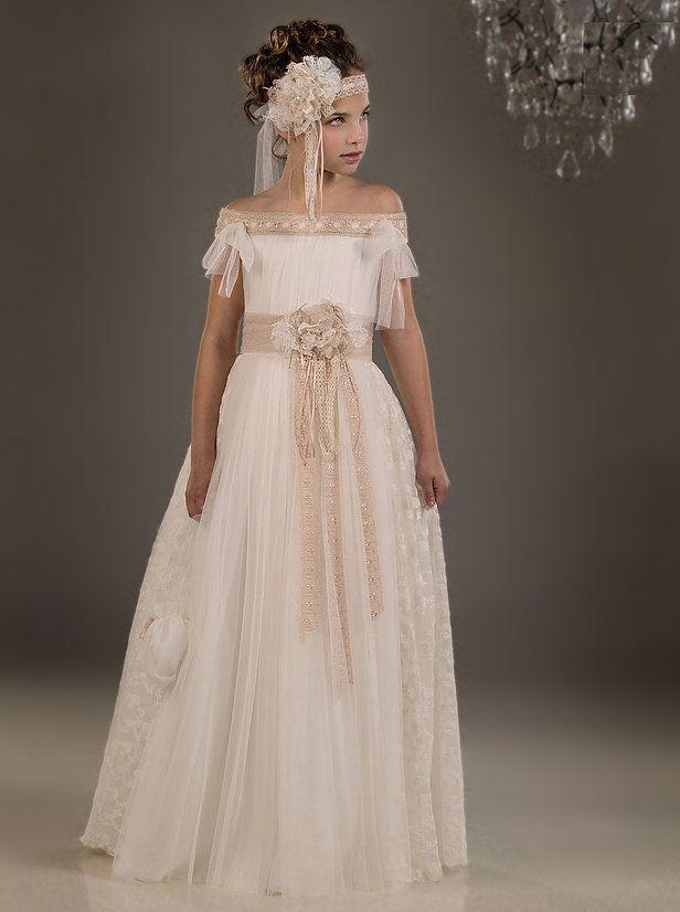 vestido de comunión de tul en palabra de honor | niñas | pinterest